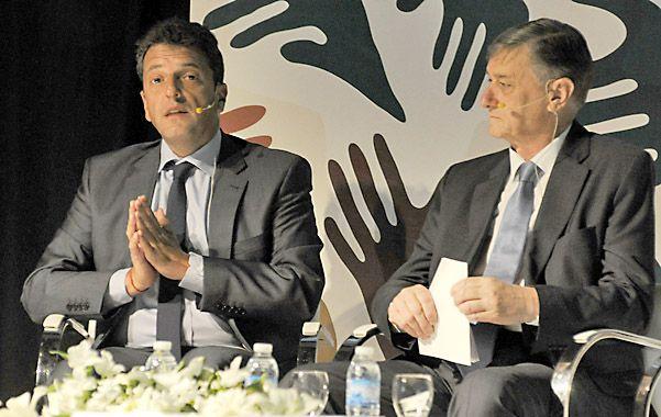 Coincidencias. Sergio Massa y Hermes Binner hablaron de cuestiones productivas en el congreso de Aapresid.