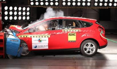 Exitoso. La prueba de choque del Focus III. El auto ofrece muy buenos estándares de seguridad para sus ocupantes.