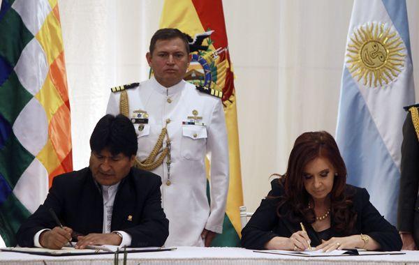Evo Morales y Cristina Fernández firmaron hoy cuatro acuerdos bilaterales.