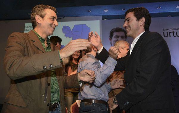 festejo. Urtubey obtuvo la re-reelección en Salta y lo celebra con Randazzo