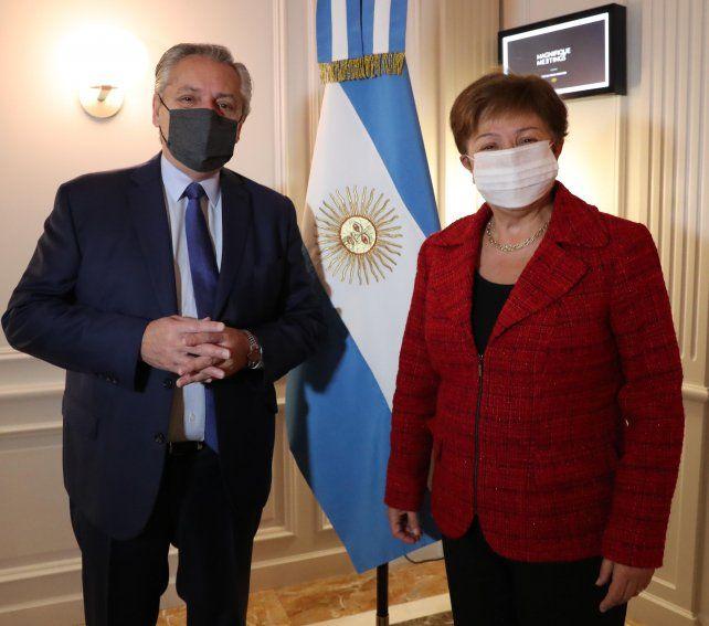 El presidente Alberto Fernández se reunió por primera vez con la titular del FMI