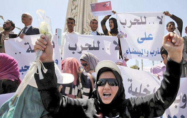 Protesta. Una mujer yemenita