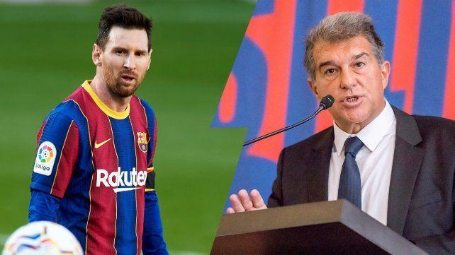 Messi y Laporta. Los medios españoles insisten en que Barcelona le ofrecerá a la Pulga un contrato por dos años.