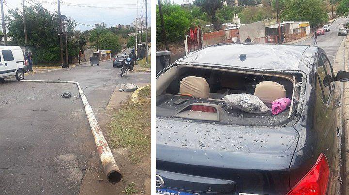 Columna de alumbrado cayó sobre un auto. Ocurrió como consecuencia d ela tormenta en Paraná