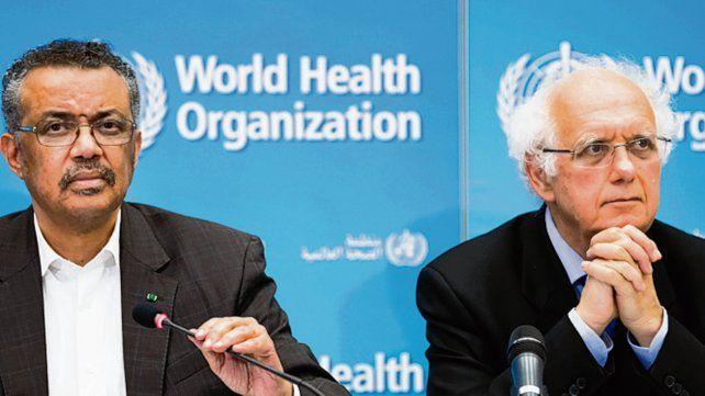 anuncio. Tedros Adhanom y Didier Houssin