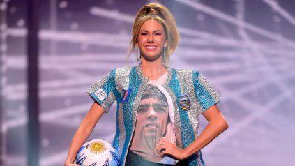 Alina Luz Akseirad, la postulante argentina a Miss Universo, le rindio homenaje a Maradona.