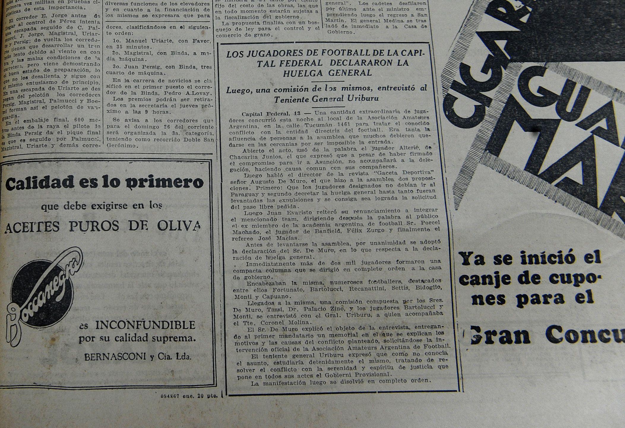 La Capital. La huelga  del 31 se publicó en  la página 9 del diario.