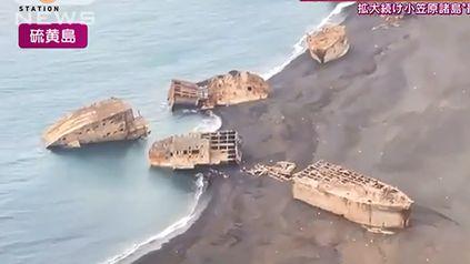Se despertó un volcán y dejó al descubierto decenas de barcos de la Segunda Guerra Mundial