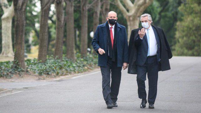 El gobernador Omar Perotti y el presidente Alberto Fernández durante su encuentro en la quinta de Olivos.