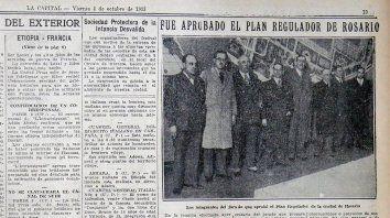 La edición de LA CAPITAL del 4 de octubre de 1935 destaca la aprobación del plan regulador de Guido.