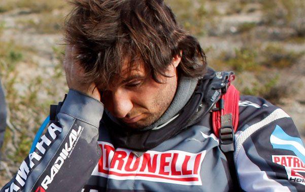 La cara lo dice todo. Patronelli debió dejar la competencia luego de que su cuatriciclo se cayera en un precipicio.