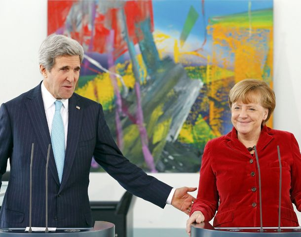 Kerry y Merkel se mostraron juntos por primera vez en mucho tiempo.