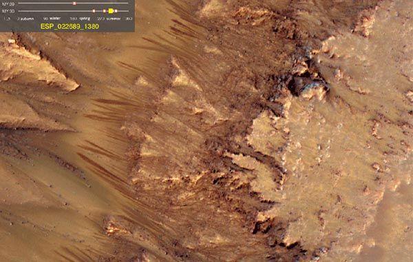 El agua corre por los cañones y las paredes de Marte durante los meses de verano.