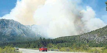 Luchan por controlar el incendio forestal desatado el miércoles en El Bolsón