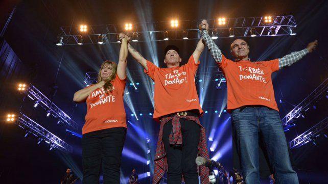 El cantante de La Beriso subió al escenario con una remera de apoyo a la donación de órganos