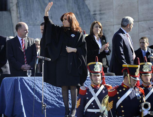 La presidenta de la nacion Cristina Fernández de Kirchner presidio el acto de la bandera