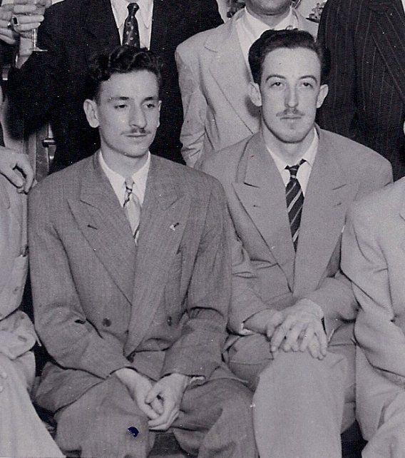 Amigos. Jorge Riestra y Tucho Spinassi, en plena juventud.