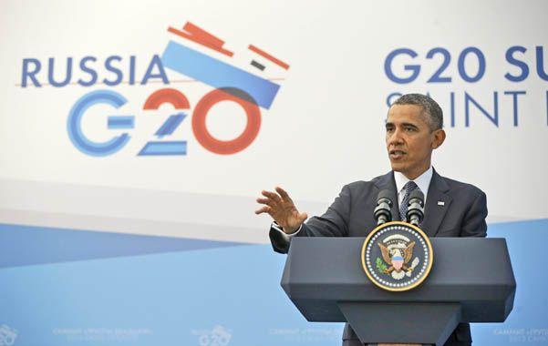 Despedida. Obama habló con los medios antes de dejar San Petersburgo y el G-20.  Sigue adelante con su plan.