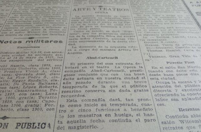 La Capital anoticia del compromiso del teatro en Rosario con la huelga de los maestros.