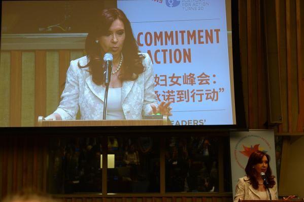 """Cristina participó junto a otros 70 jefes de Estado y ONGs de la reunión en la ONU sobre """"Igualdad de género""""."""