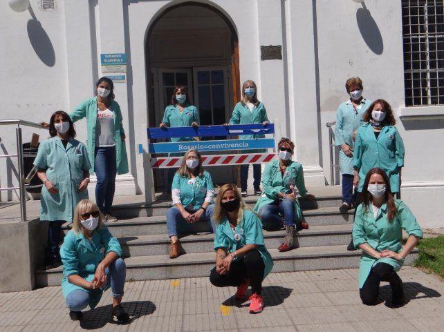 Voluntarias del Vilela bailaron para alegrar a los niños internados