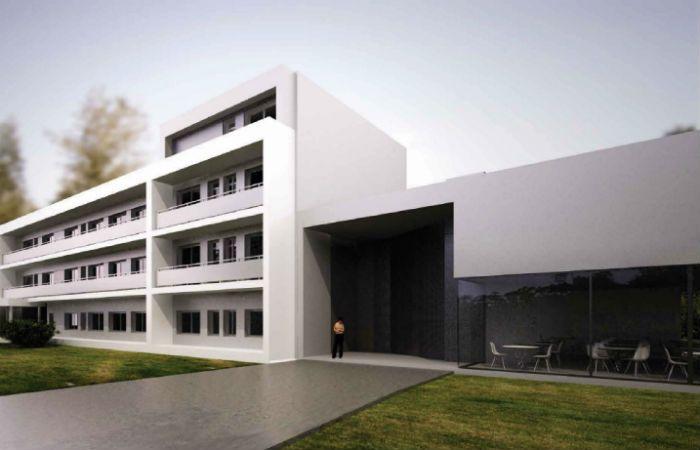 El edificio. Así se verá la escuela una vez finalizada la obra en Funes.