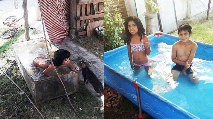 Santa Elena: Se bañaba en una heladera y le reglaron una pileta de lona