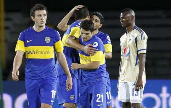 Todo Boca festeja el gol de Walter Ervitti.