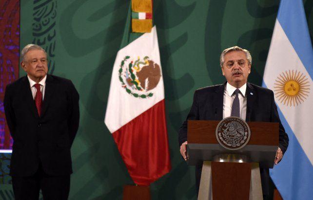 El presidente Alberto Fernández habló con el periodismo junto a su par de México Andrés López Obrador.