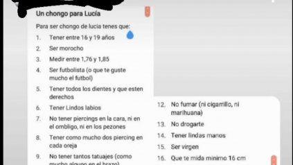La supuesta lista de requisitos de Lucía para conseguir un acompañante romántico explotó en Twitter.