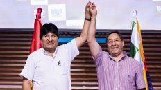Evo Morales y el nuevo presidente electro, Luis Arce.