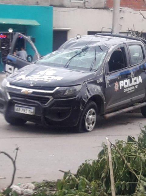 Otra vez un patrullero terminó accidentado durante una persecución