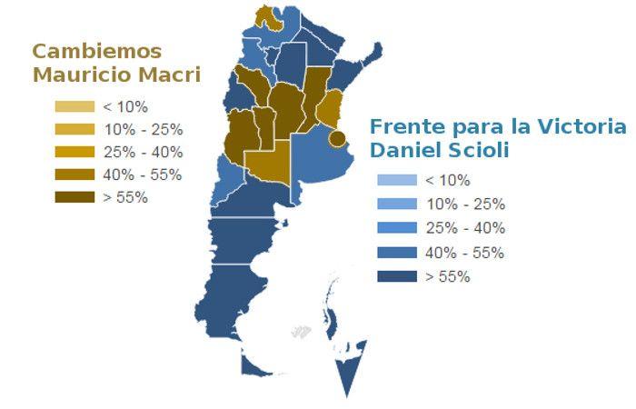 El mapa del voto en el país.