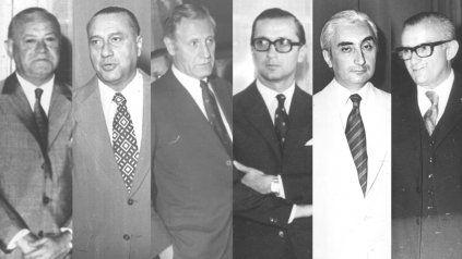 Beltramo, Cattenati, Gollán, Funes, Arrizabalaga y Benetti Aprosio en la sucesión del Palacio de los Leones en 1971.