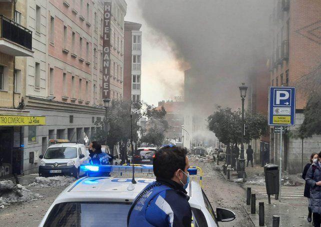 Una fuerte explosión causó conmoción en el centro de la capital española de Madrid.
