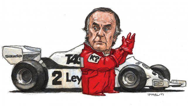 El Reutemann piloto en una ilustración de Gabriel Ippóliti para La Capital publicada en enero de 2009.