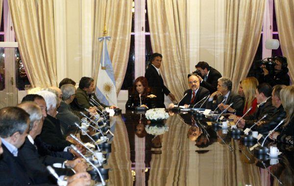 Cristina presidió la reunión con los sindicalistas