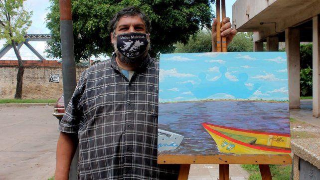 El cuadro donado por el artista Germán Gago para subastar y ayudar en la iniciativa.