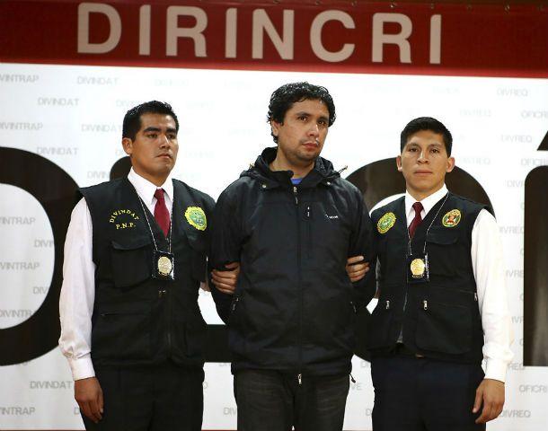 Dodero Tello ayer en el departamento de policía. Su detención se produjo en su casa de un barrio de Lima.