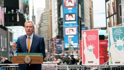 El alcalde de Nueva York, Bill de Blasio, confía en la reactivación de la actiivdad de la ciudad.