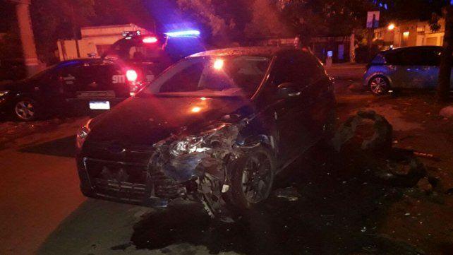 El automóvil en el que iba el presunto delincuente.
