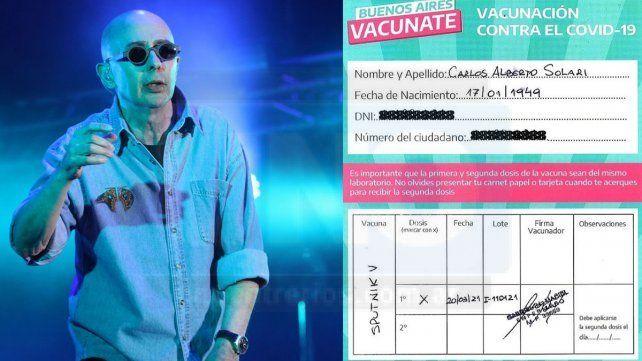 Carlos Alberto Indio Solari tiene 71 años y padece Parkinson. Publicó el certificado de vacunación en las redes y tras el posteo se polemizó en redes sociales.