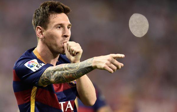 Otra vez Messi. Leo fue padre por segunda vez y celebró su gol con el dedo en la boca.