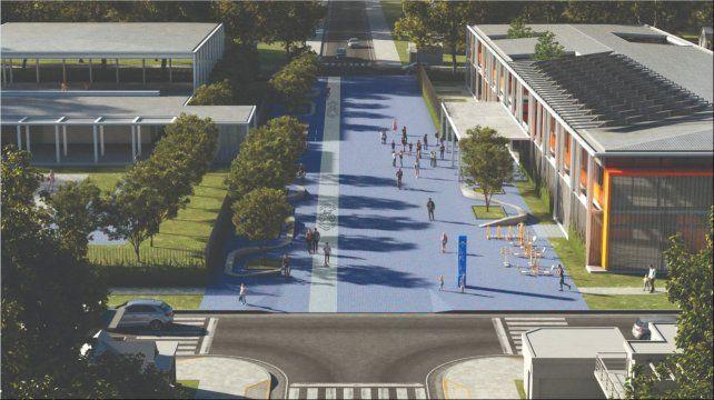 Maqueta virtual que exhibe el modelo de escuela pospandémica que se construirá en Roldán y que guiara la filosofía de esta nueva forma de pensar el espacio público desde la provincia.