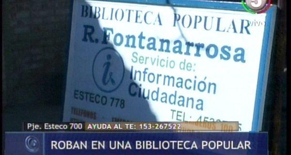 Robaron computadoras y fotocopiadoras de la biblioteca Fontanarrosa