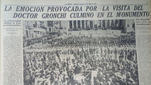 Con gran despliegue, La Capital informa sobre el emotivo acto de Gronchi en el Monumento.