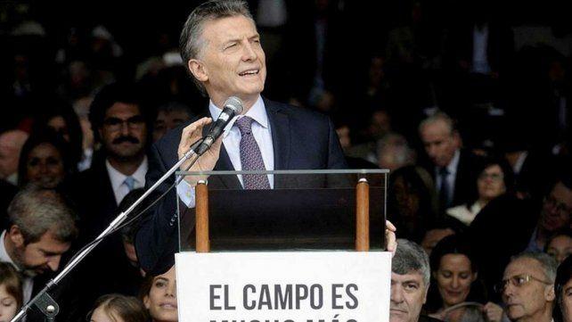Macri durante su discurso de apertura en La Rural.