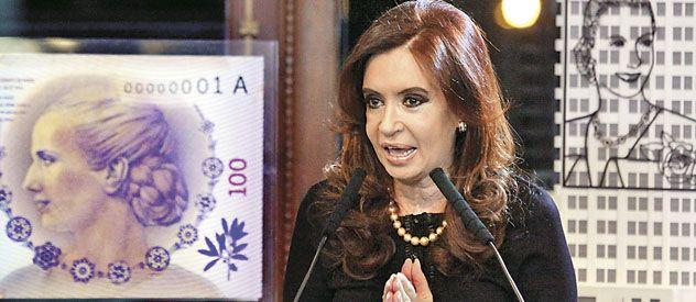 La presidenta Cristina Fernández de Kirchner presentó en la semana que pasó el billete de cien pesos con la imagen de Evita.