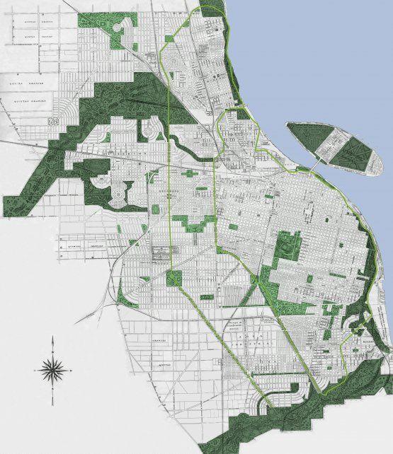 La red de espacios verdes alcanzaba a todos los distritos de la ciudad.