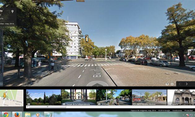 Las imágenes de 27 de Febrero y Oroño en Google Maps.